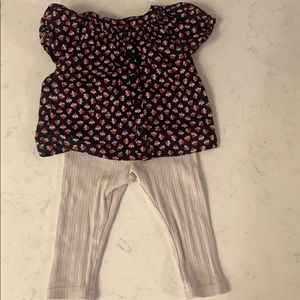 Tea collection top and cream leggings EUC